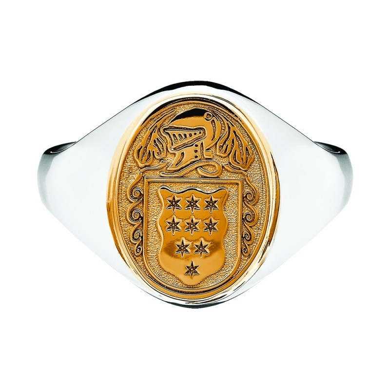 Ladies Petite Oval Family Coat of Arms Ring-Solid Two Tone
