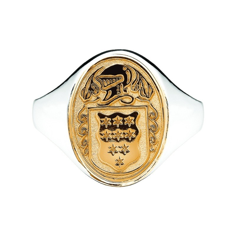 Ladies Solid Back Heavy Oval Family Coat Of Arms Ring Two Tone