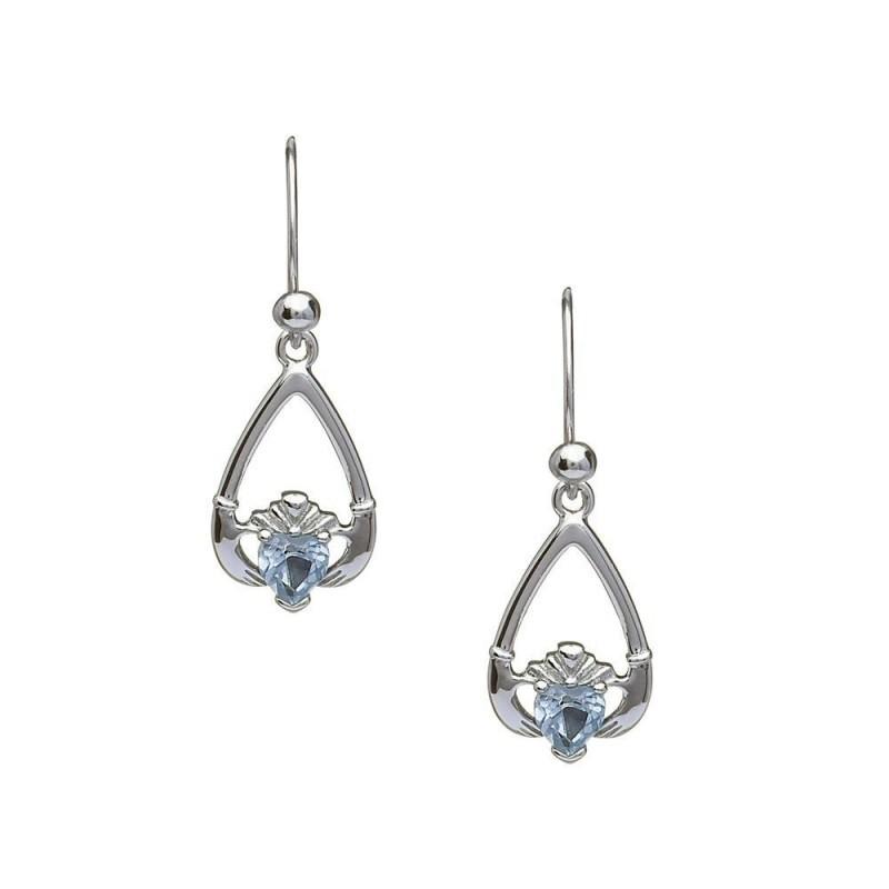 March-Aquamarine Birthstone Claddagh Earring