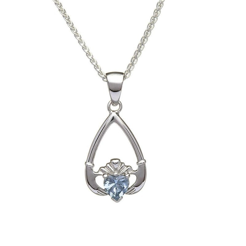 Birthstone Claddagh Pendant March-Aquamarine