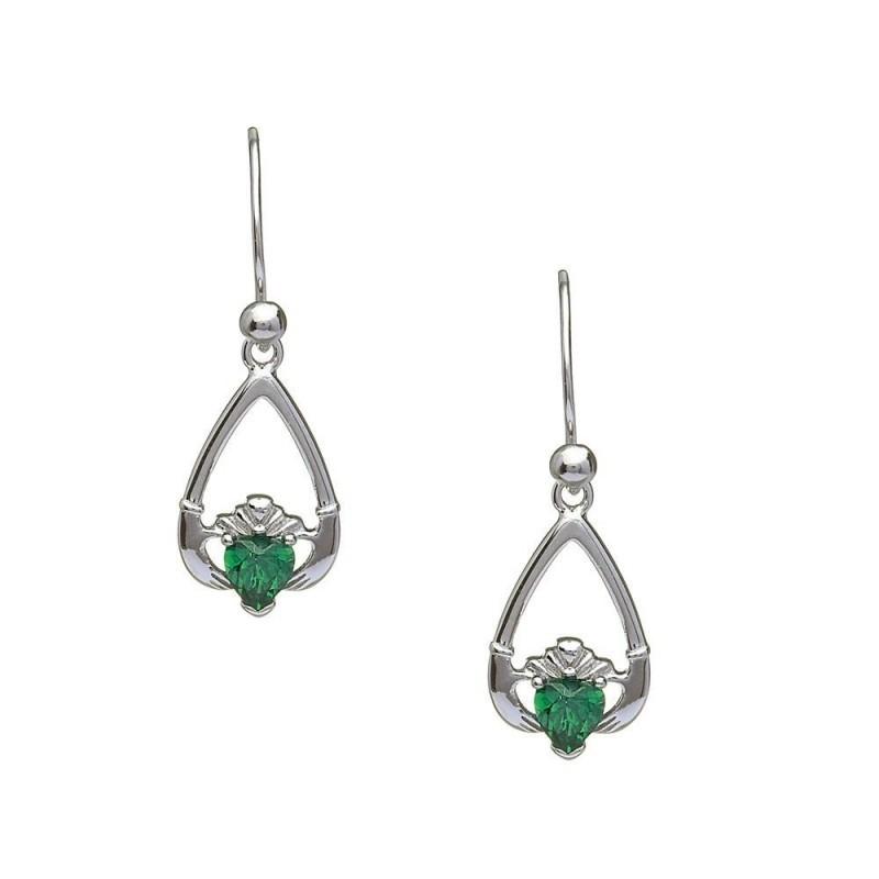 May-Emerald Birthstone Claddagh Earrings