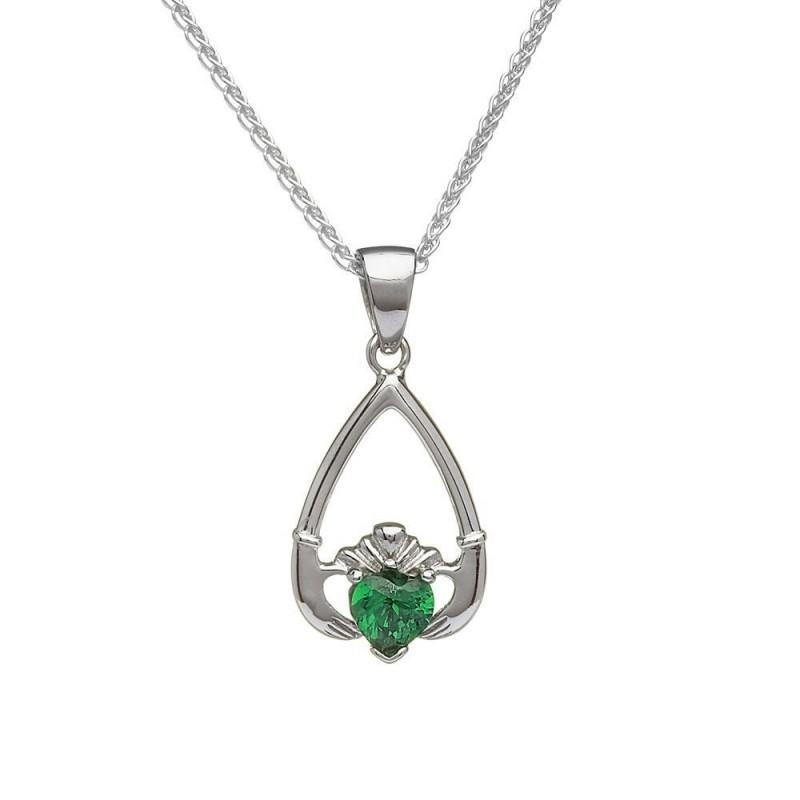 Birthstone Claddagh Pendant May-Emerald