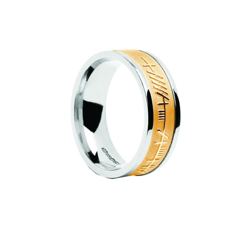 Mens Ogham Trinity Irish Ring Two Tone Yellow Center
