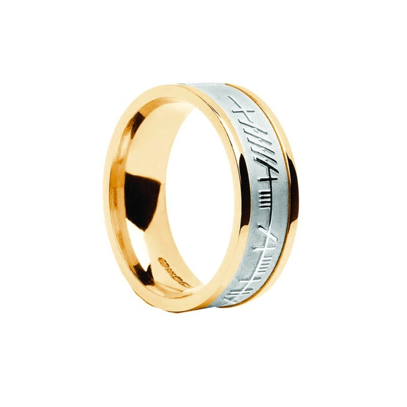 Mens Irish Wedding Ring with Ogham Trinity Design