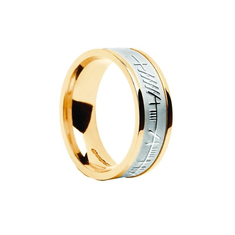 Mens Irish Wedding Ring with Ogham Trinity Design