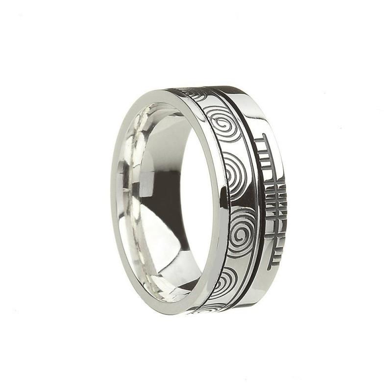 Newgrange Faith Irish Wedding Band Sterling Silver