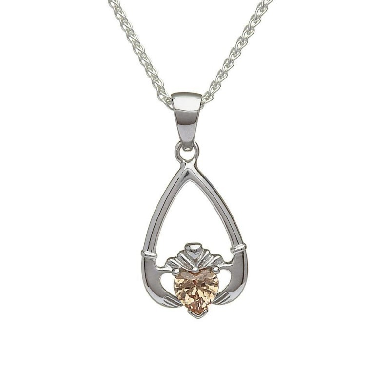 November-Citrine Birthstone Claddagh Pendant