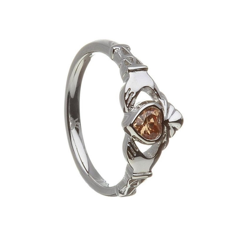 November-Citrine Birthstone Claddagh Ring