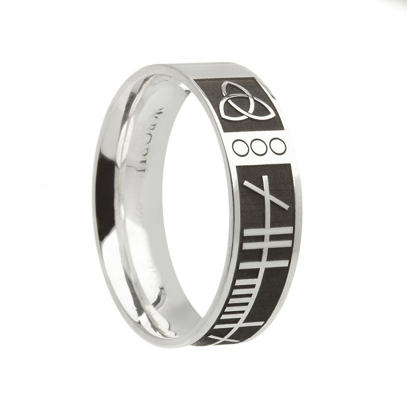 Ogham Mo Anam Cara Irish Wedding Band Comfort Fit Sterling Silver