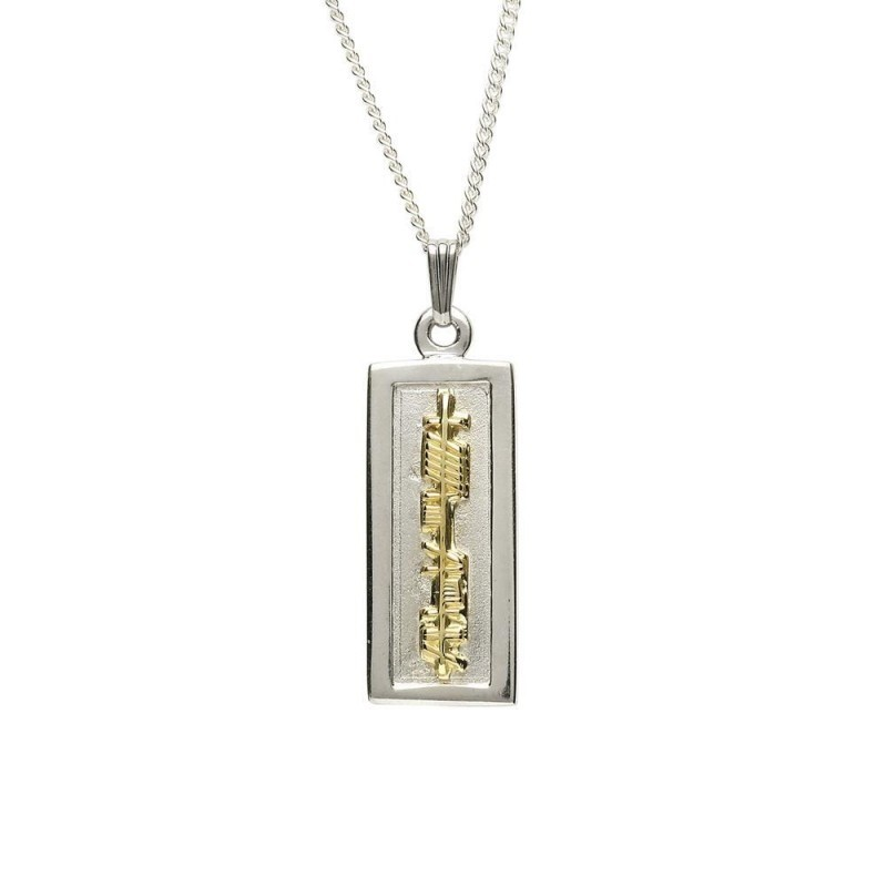 Ogham My Soul Mate Irish Pendant Two Tone