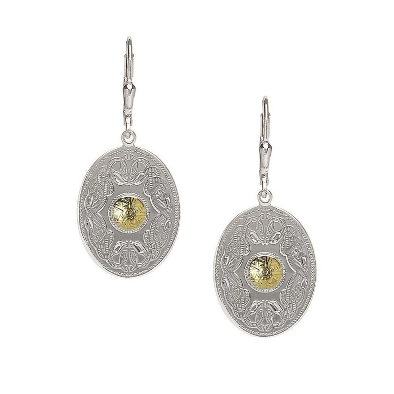 Oval Celtic Warrior Earrings-Silver with 18K Gold Bead