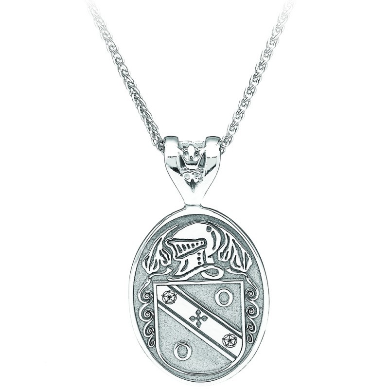 Oval Coat of Arms Family Irish Pendant  Large