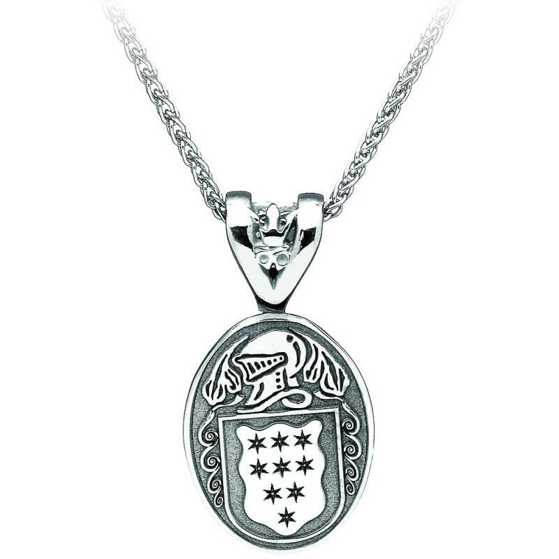 Oval Coat of Arms Family Irish Pendant Medium Sterling Silver