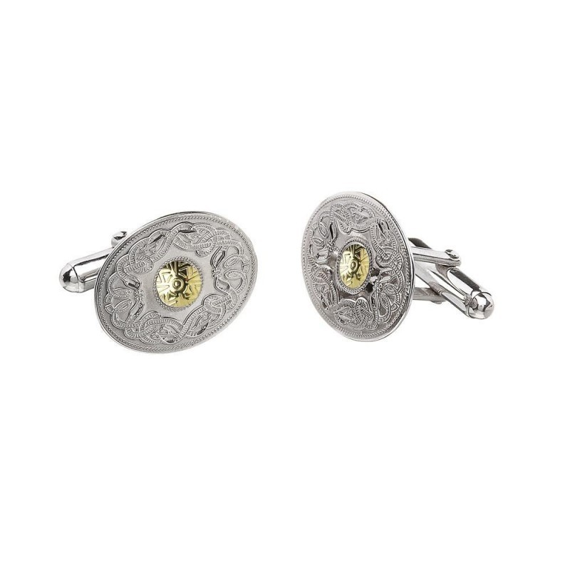 Oval Irish Celtic Warrior Cuff Links Two Tone