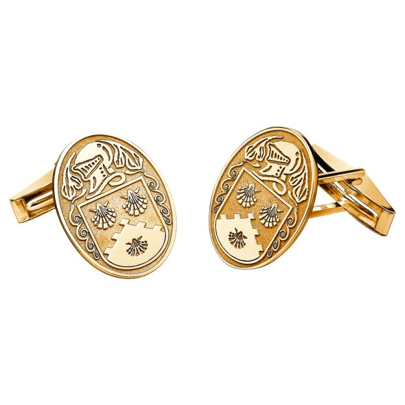 Personalized Oval Family Coat of Arms Cuff Links 14k Gold