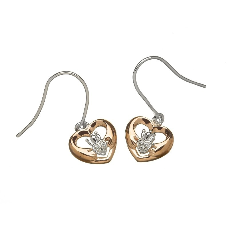 Rose Gold Heart Shaped Claddagh Earrings