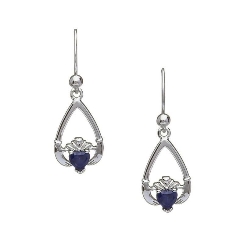 September-Blue Sapphire Birthstone Claddagh Earrings