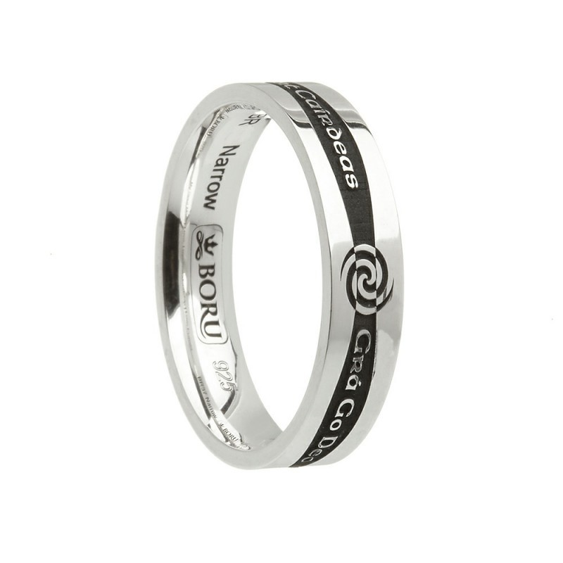 Siorai Etched Irish Promise Ring Sterling Silver