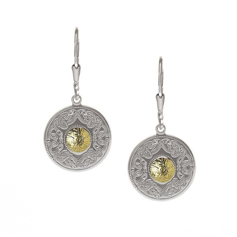 Small Celtic Warrior Earrings-Silver with 18K Gold Beads