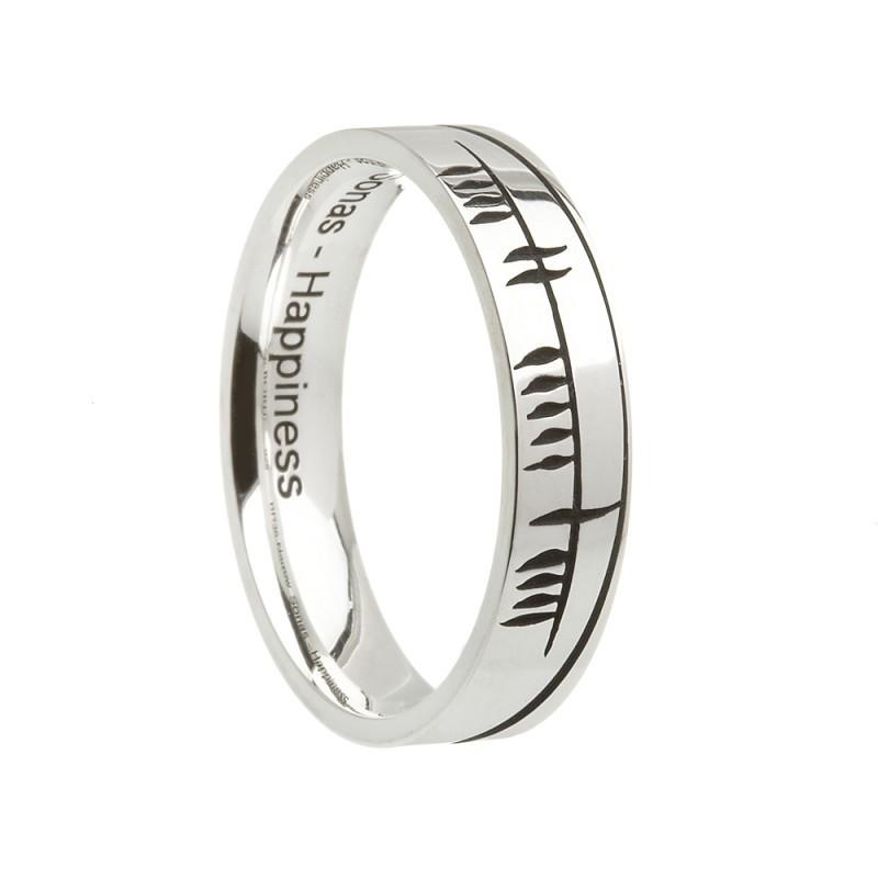 Sonas Ogham Etched Irish Wedding Band Sterling Silver