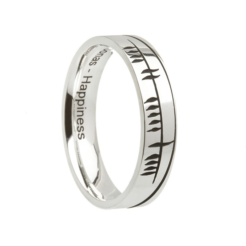 Sonas Ogham Etched Irish Wedding Band Comfort Fit Sterling Silver