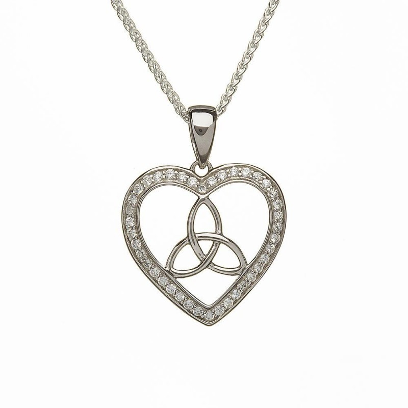 Stone Set Trinity Knot Heart Irish Pendant