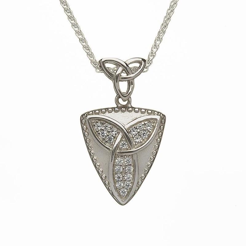 Studded Celtic Trinity Knot Irish Pendant
