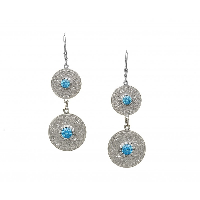 Swiss Blue Double Irish Earrings with Clear CZ