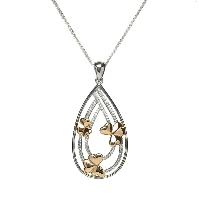 Three Shamrock Irish Pendant with Cubic Zirconia