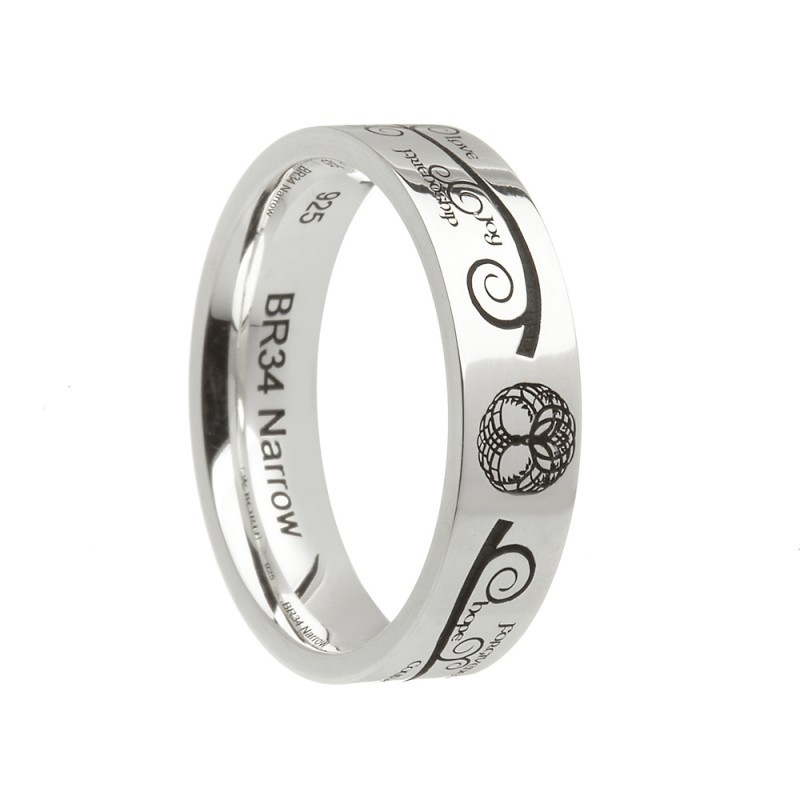 Tree of Life Etched Ring Irish Wedding Band Comfort Fit Sterling Silver
