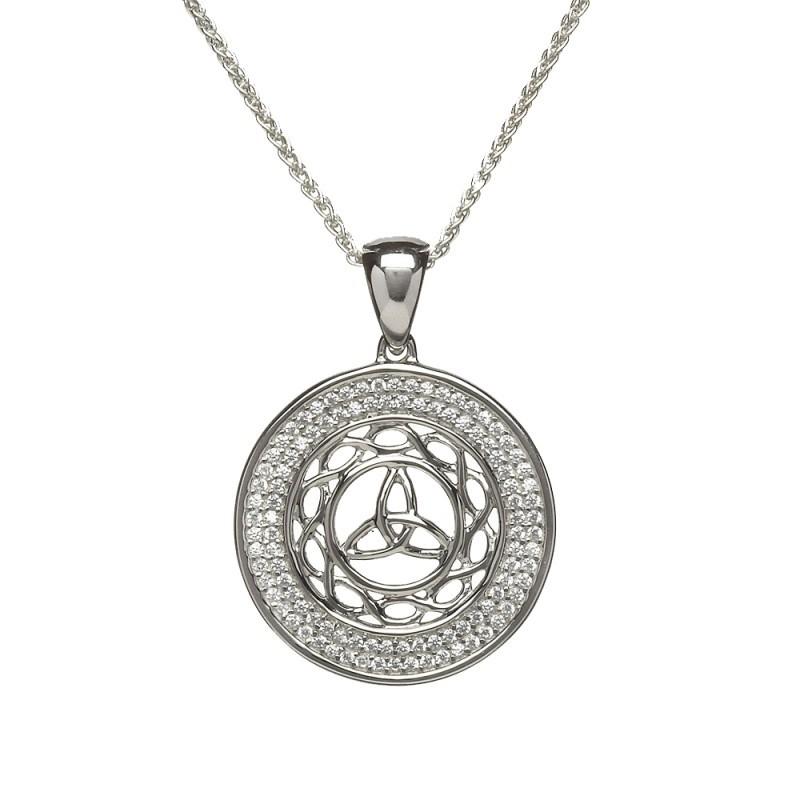 Trinity Disc Irish Pendant with Celtic Knotwork