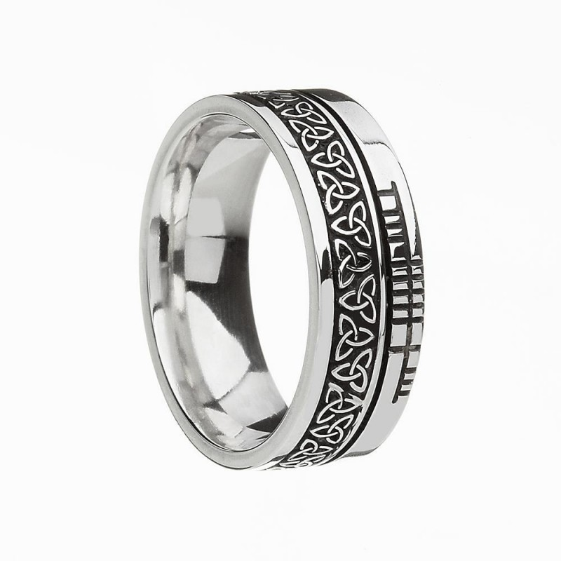Trinity Faith Etched Irish Wedding Band Sterling Silver