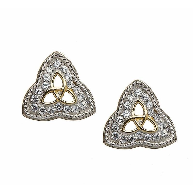 Trinity Rope Edged CZ Irish Earrings