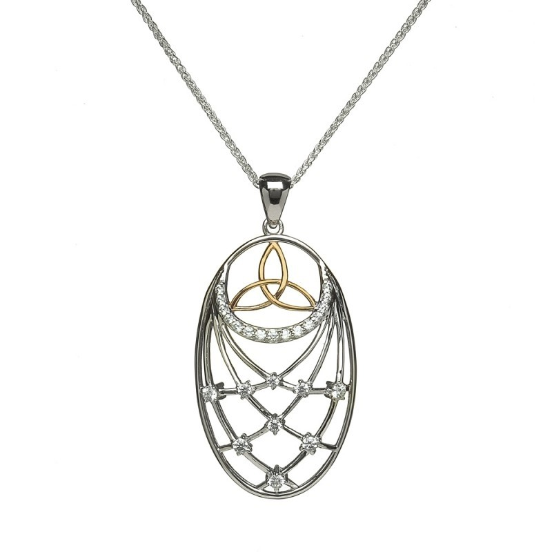 Trinity Stone Set Interlaced Irish Pendant