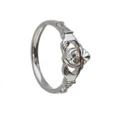 April-Cubic Zirconia Birthstone Claddagh Ring
