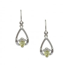 August-Peridot Birthstone Claddagh Earrings