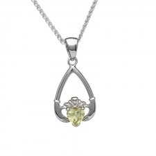 Birthstone Claddagh Pendant August-Peridot