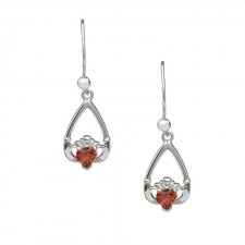 Birthstone Claddagh Earrings January Garnet