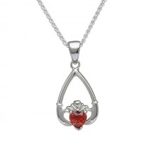 Birthstone Claddagh Pendant January Garnet