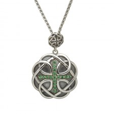 Celtic Trinity Knot Pendant with Green CZ Cross