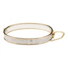 Celtic Warrior Silver and Rolled Gold Irish Bangle Bracelet