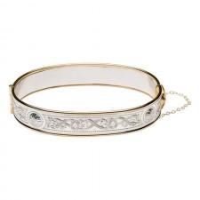 Celtic Warrior Celtic Knot Motif Two Tone Irish Bangle Bracelet