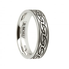 Celtic Waves Etched Irish Wedding Band Sterling Silver Comfort Fit