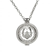 Claddagh and Celtic Knot Disc Irish Pendant