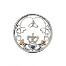 Claddagh Trinity Shamrock Disc for Interchangeable Pendant