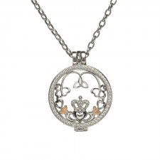 Claddagh Trinity & Shamrock Disc Irish Pendant