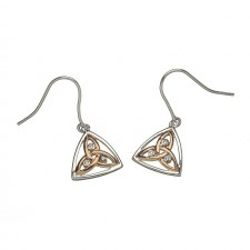 Contemporary Stone Set Irish Trinity Earrings