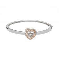 Damhsa Celtic Knot Heart Dancing CZ Irish Bangle Bracelet
