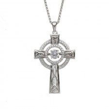 Damhsa Double Circle Celtic Cross with Dancing CZ