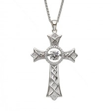 Damhsa Pointed Celtic Cross with Dancing CZ